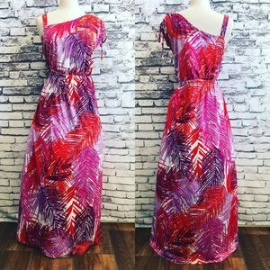 Avenue Purple Pink Sexy Feather Long Maxi Dress